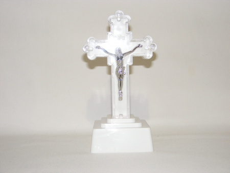 Krzyż świecący Mały – kolor biały wys. Ok. 12,5 cm (1)