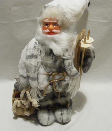 Mikołaj 32 cm- biało - szary Mikołaj z szalikiem (1)