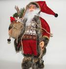 Mikołaj 32 cm czerwony  z brązowymi dodatkami- spokojne kolory to walory tej ozdoby (3)