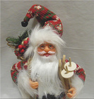 Mikołaj 32 cm - Mikołaj ubrany we wzorzysty płaszcz z białym futerkiem (2)