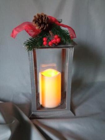 Lampion latarnia z dekoracją świąteczną (1)